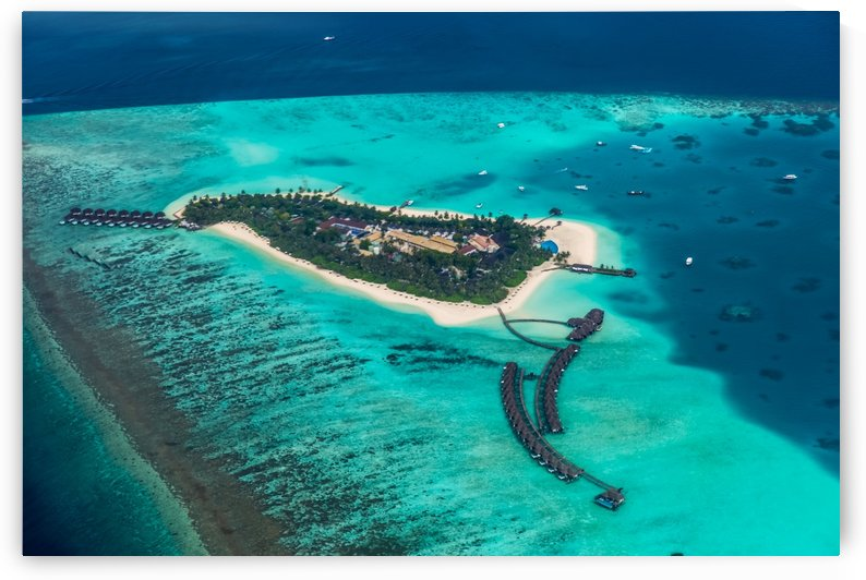 Tropical island at Maldives - aerial view by Levente Bodo