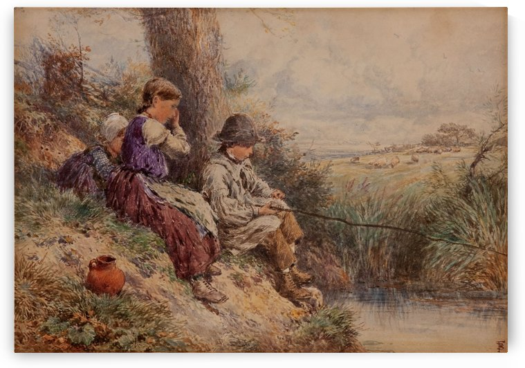 The fishing by Myles Birket Foster