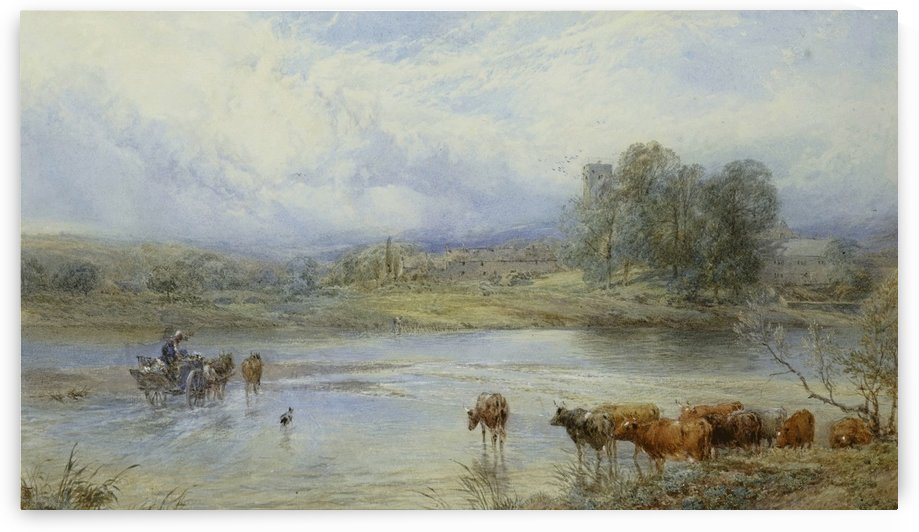 Crossing the river Tyne near Ovington by Myles Birket Foster