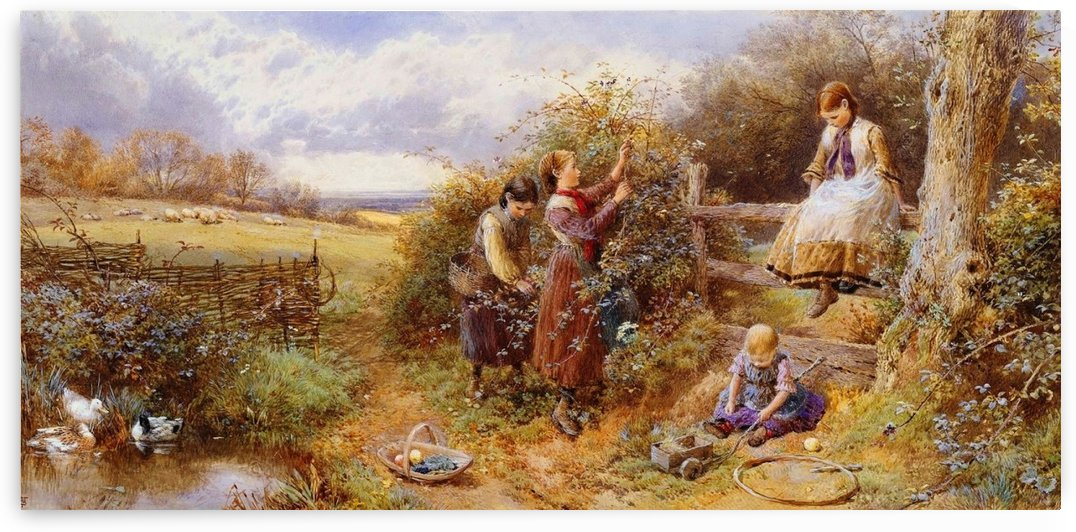 The blackberry gatherers by Myles Birket Foster