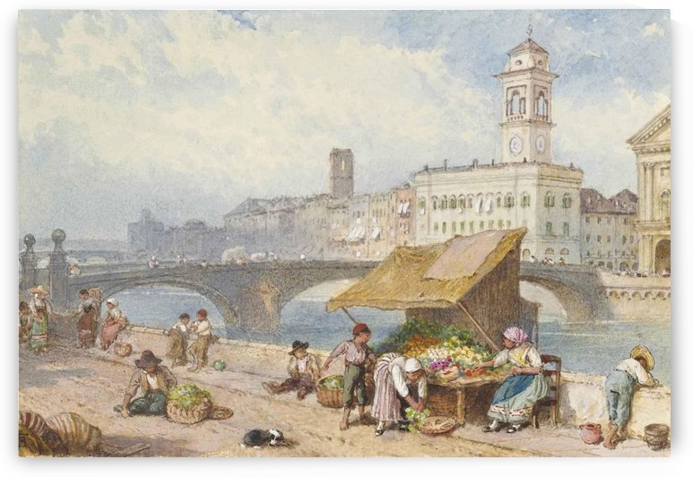 Small market along a river by Myles Birket Foster