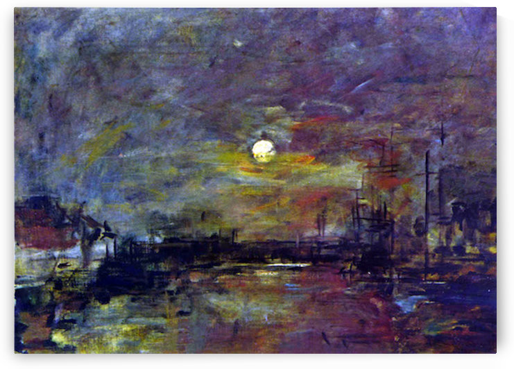 Dusk on the port of Le Havre by Boudin by Boudin