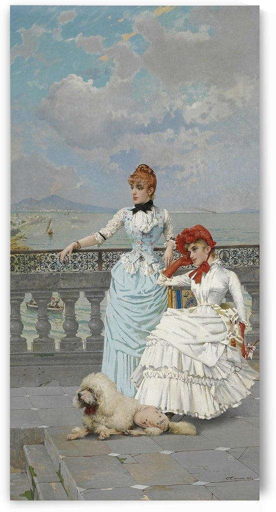 Two ladies and dog on a balcony by Vittorio Matteo Corcos