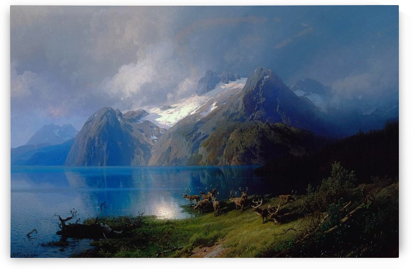 Mountain landscape by Edward Theodore Compton
