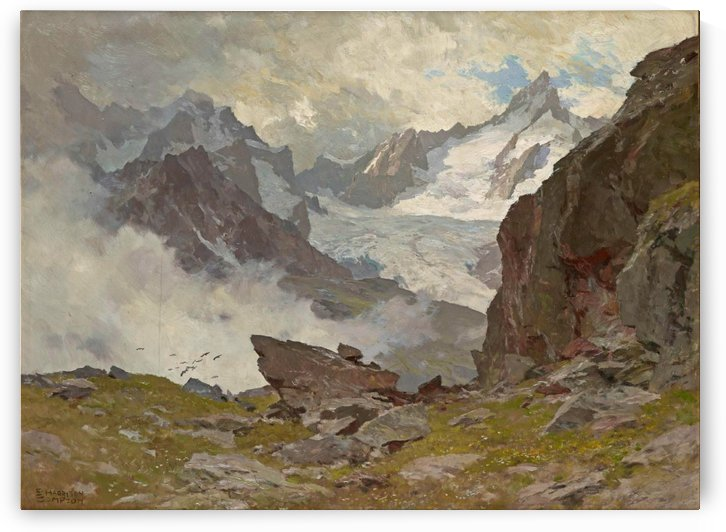 The Zinalrothorn seen from Blatten, Zermatt by Edward Theodore Compton