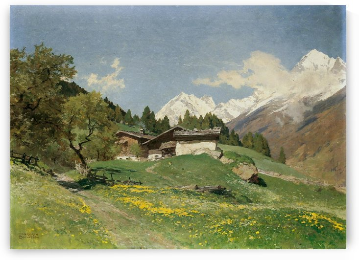Rural house at the base of Alps by Edward Theodore Compton