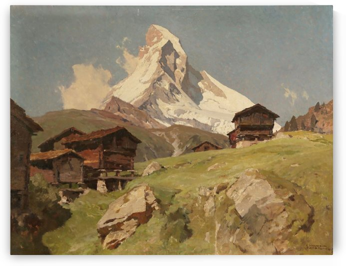 Matterhorn seen from Winkelmatten village by Edward Theodore Compton