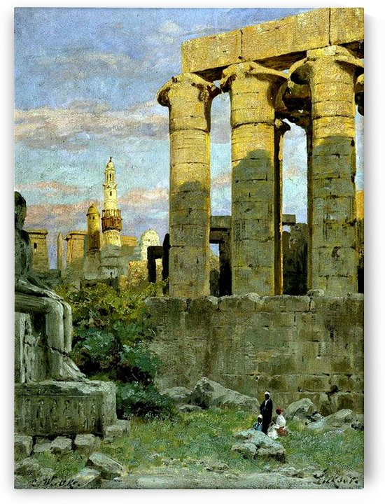 Temple of Luxor, with Abu al Haggag Mosque by Carl Wuttke