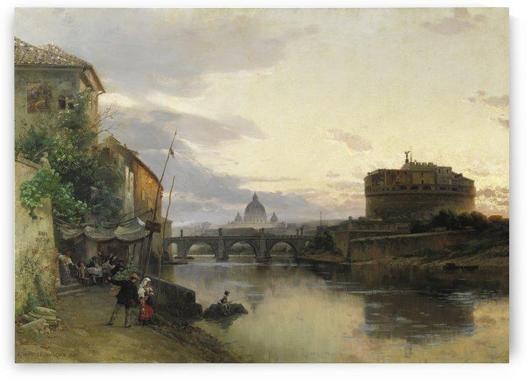 Veduta di Roma con Castel Sant Angelo e il Vaticano by Carl Wuttke