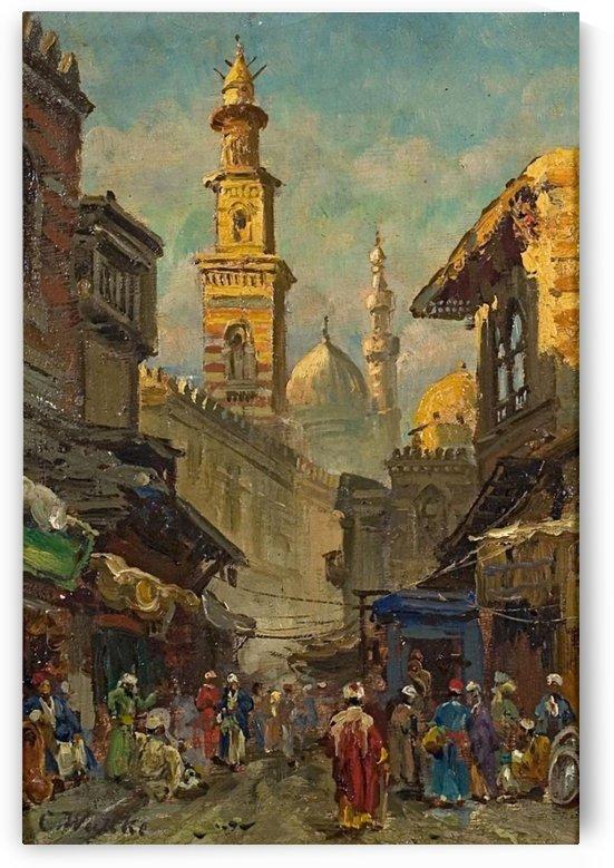 Oriental street scene by Carl Wuttke