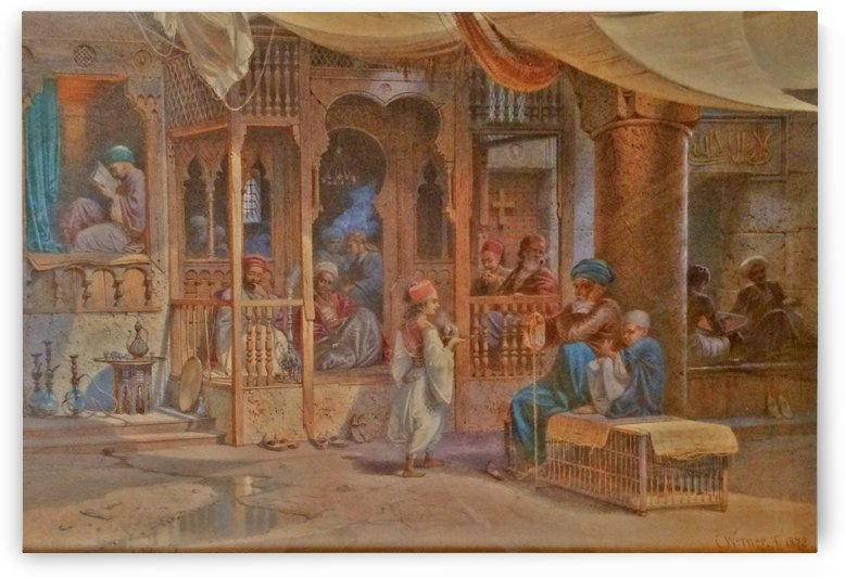 A Cairo street scene by Carl Werner
