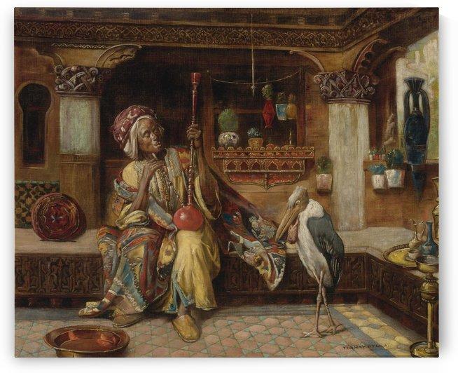 Oriental smoker with hookah and marabou by Gyula Tornai