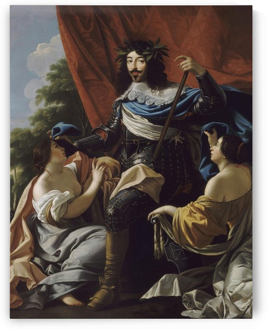 Allegorical portrait of King Louis XIII in armour by Simon Vouet