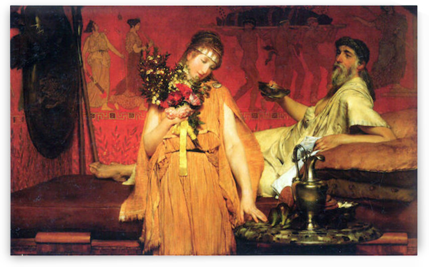 In a state of trepidation by Alma-Tadema by Alma-Tadema