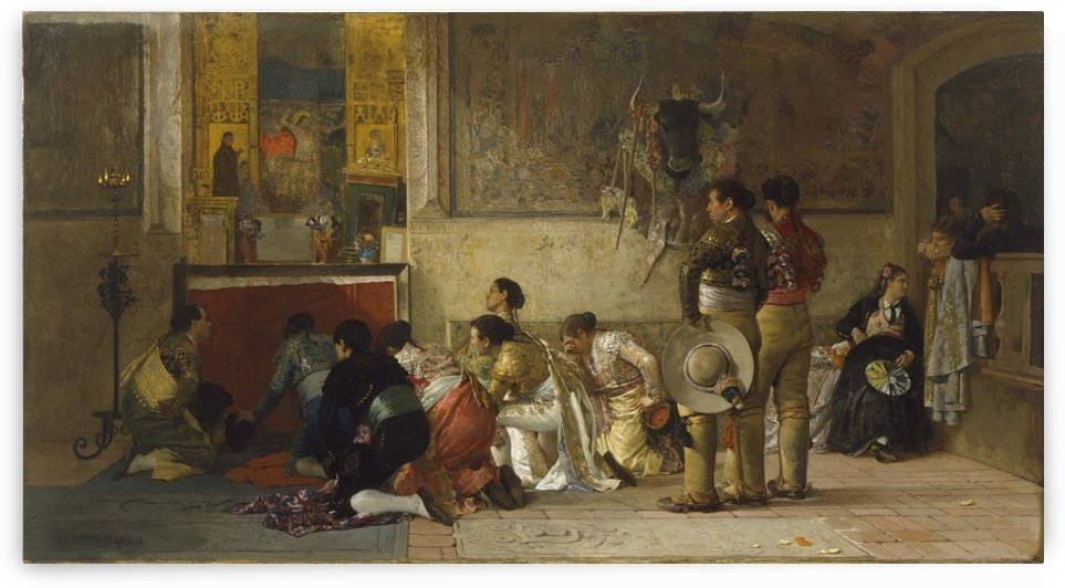 Toreros at prayer before entering the arena by Vibert Jehan Georges