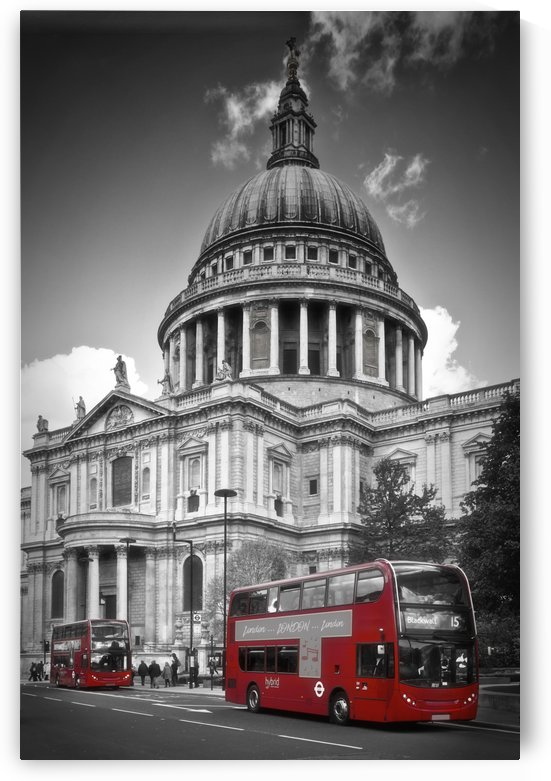LONDON St. Paul's Cathedral & Red Bus by Melanie Viola