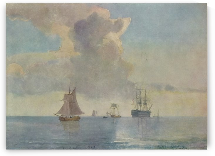 Line ship at anchor surrounded by smaller vessels - 1878 by Carl Frederik Sorensen