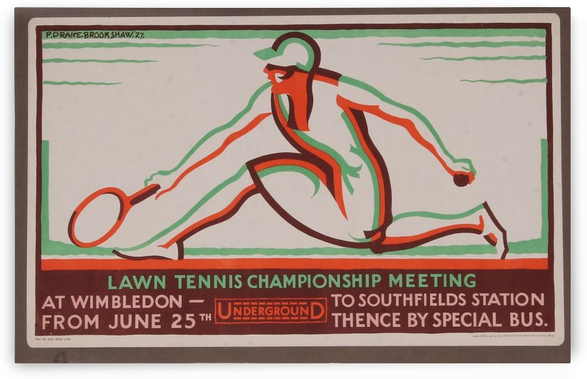 London Underground advertising poster, Lawn Tennis Championship Meeting at Wimbledon by VINTAGE POSTER