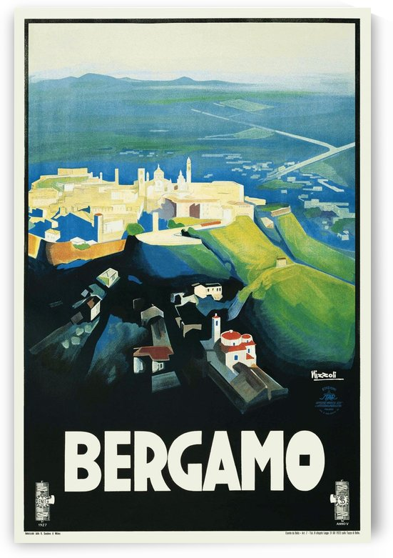 Bergamo Art Deco Vintage Italian Travel Poster by VINTAGE POSTER