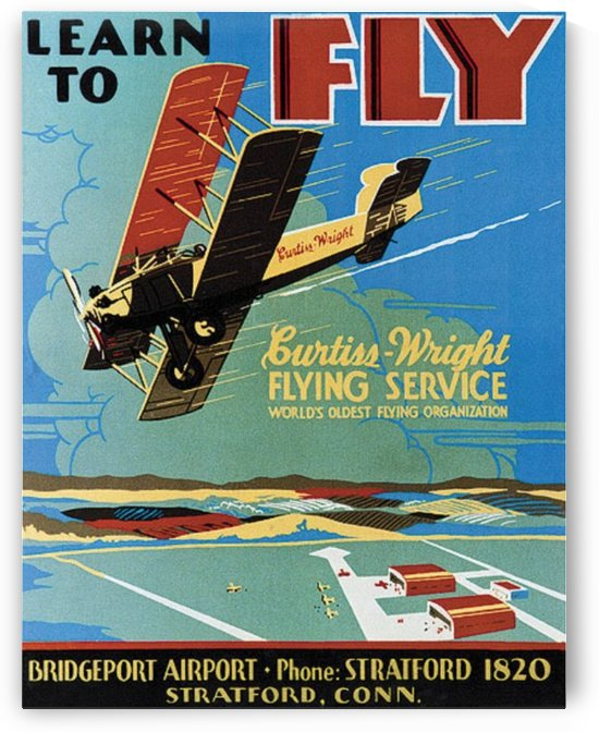 Vintage Poster for Curtiss Flying School by VINTAGE POSTER