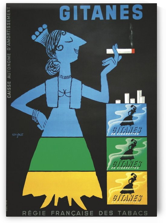 Vintage poster for Gitanes French cigarettes by VINTAGE POSTER