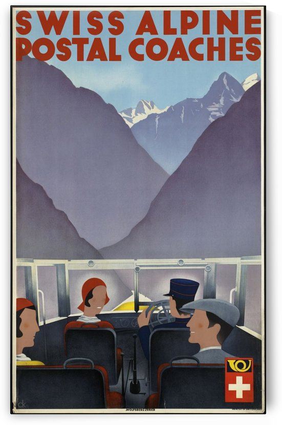 Swiss Alpine Postal Coaches vintage poster by VINTAGE POSTER
