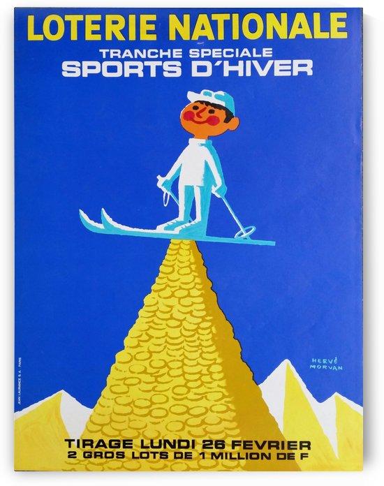 Loterie Nationale original vintage poster ski winter sport by VINTAGE POSTER