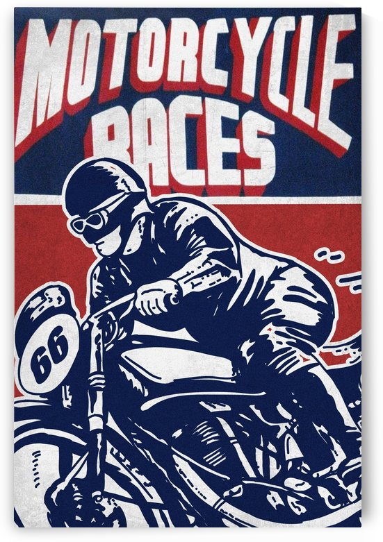Motorcycle Racing Vintage Poster by VINTAGE POSTER