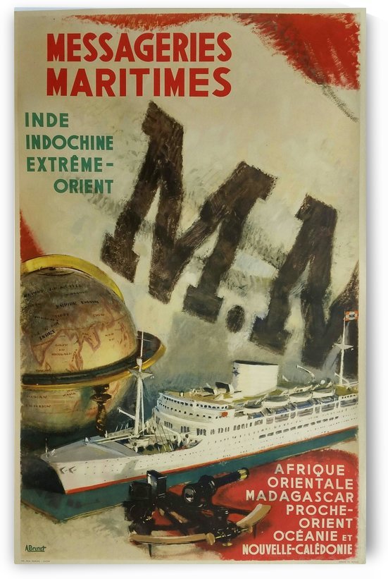 Original Vintage Poster Messageries Maritimes Inde Indochine Extreme Orient by VINTAGE POSTER
