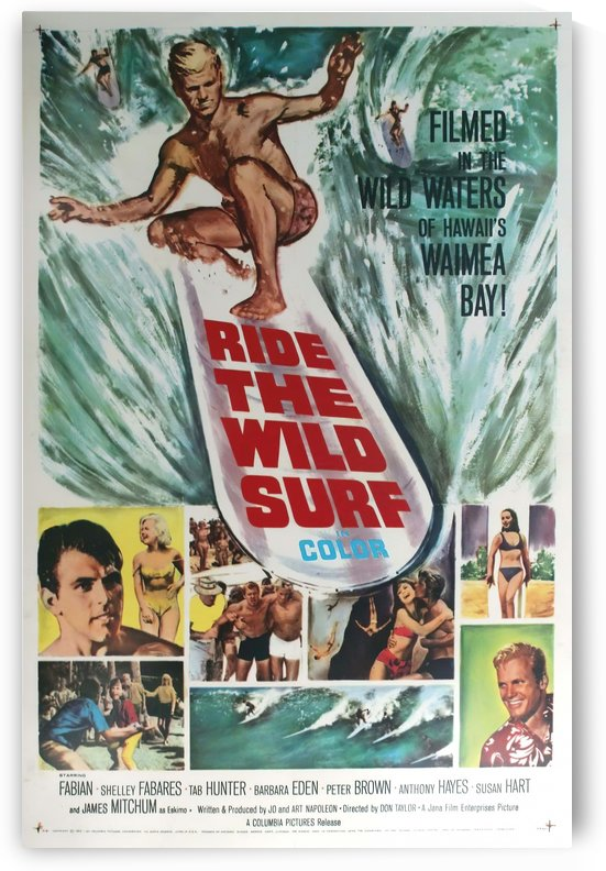 Original Vintage Surfing Movie Poster - Ride The Wild Surf by VINTAGE POSTER