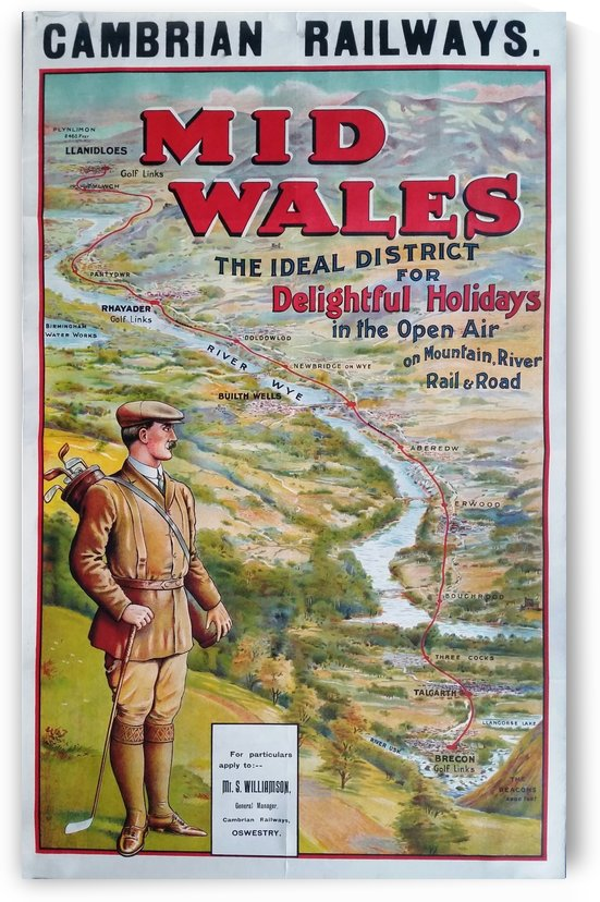 Original vintage poster golf Cambrian railways Mid Wales river by VINTAGE POSTER