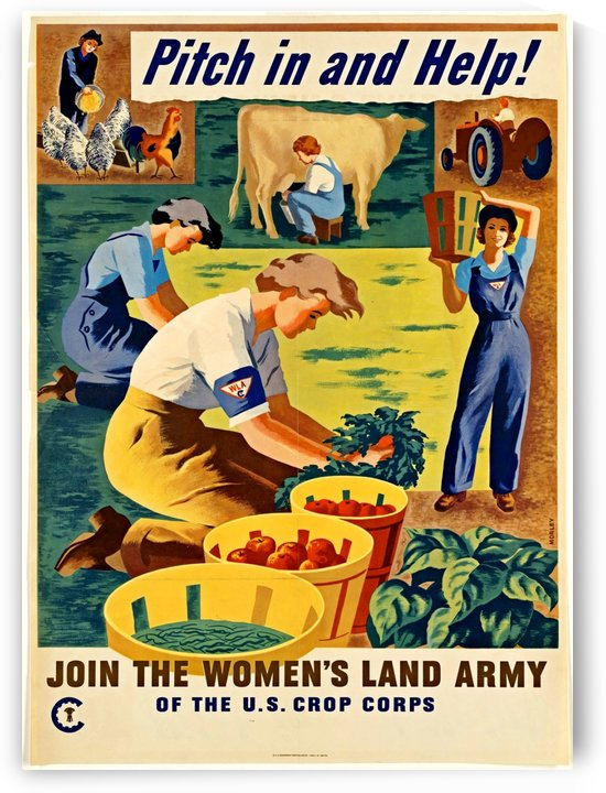WWII Patriotic Garden Farm Jobs Poster by VINTAGE POSTER