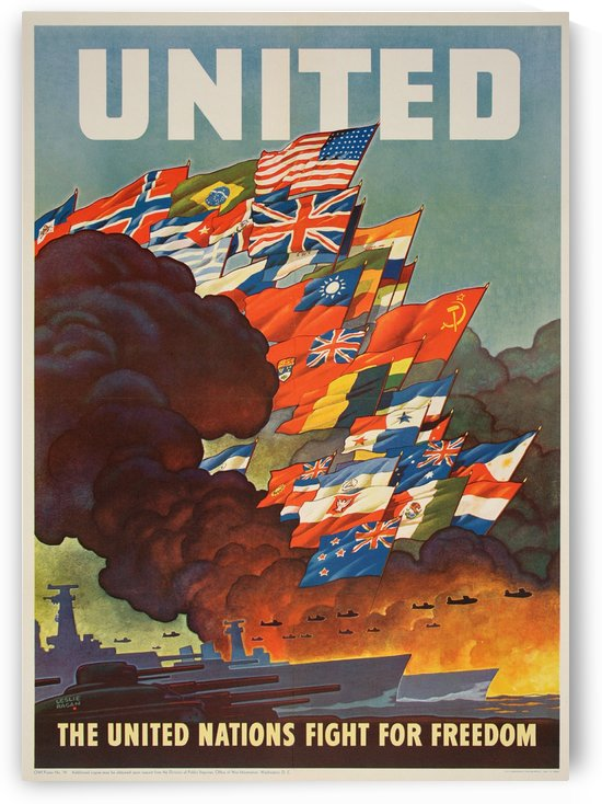 United Nations Fight for freedom vintage poster by VINTAGE POSTER