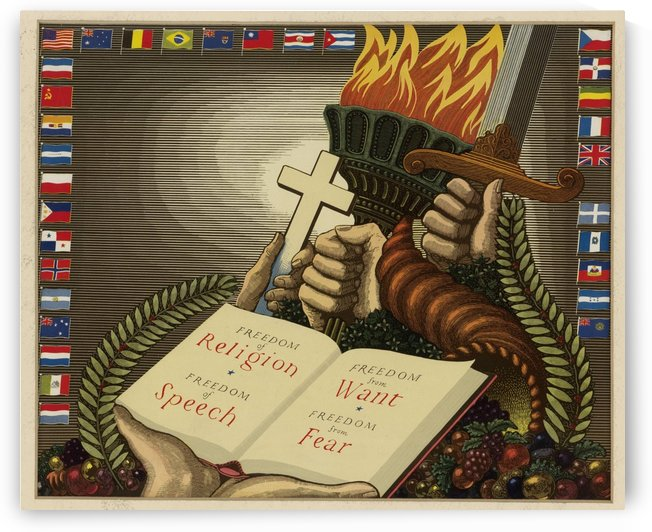 United Nations Freedom vintage poster by VINTAGE POSTER