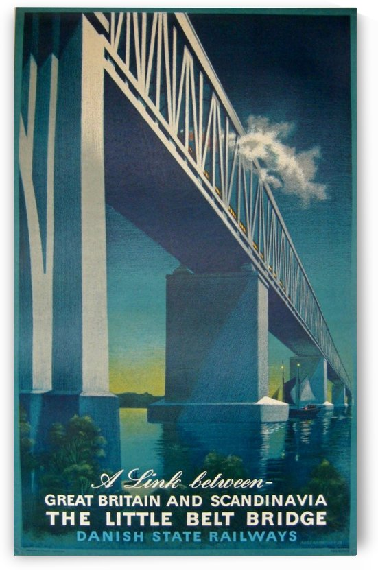 Vintage travel poster for Danish State Railways by VINTAGE POSTER