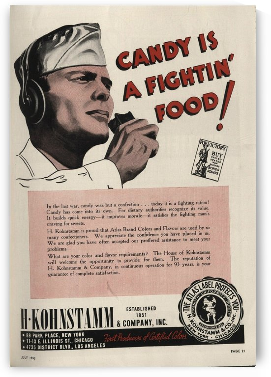 Candy is a fighting food by VINTAGE POSTER