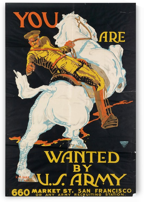 1918 World War I U.S. Army recruiting poster by VINTAGE POSTER