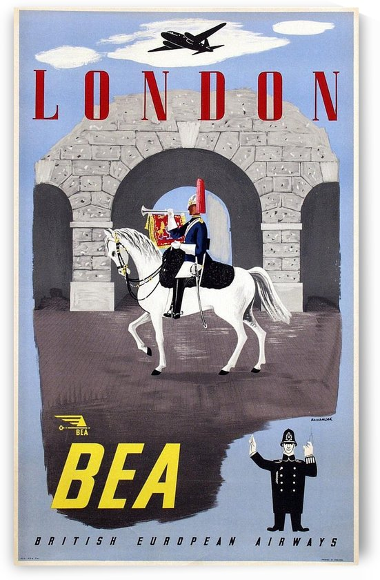 British European Airways London travel poster by VINTAGE POSTER