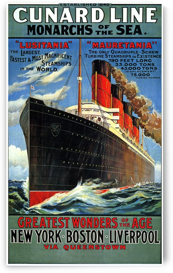 Cunard Line Monarchs of the sea vintage poster by VINTAGE POSTER