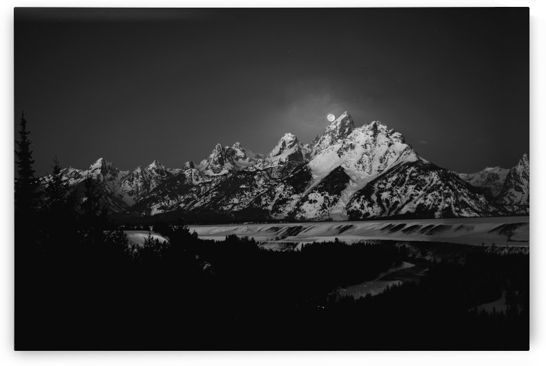 Full Moon Sets in the Teton Mountain Range by 1x