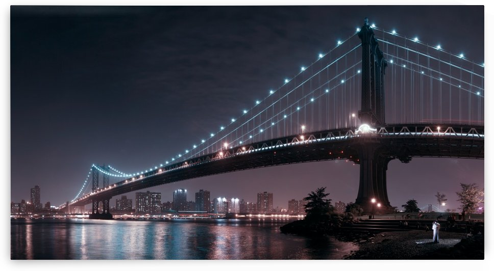 The 2 lovers under Manhattan Bridge by 1x