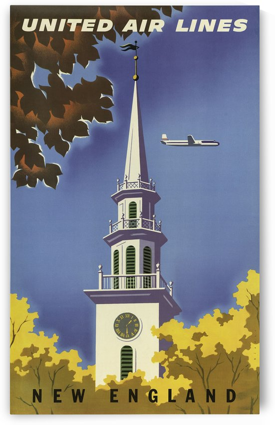 United Airlines New England Vintage Travel Poster by VINTAGE POSTER