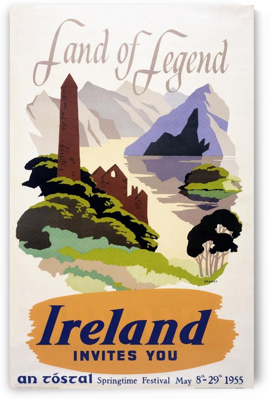 Land of Legend, Irish Travel vintage railway poster by VINTAGE POSTER