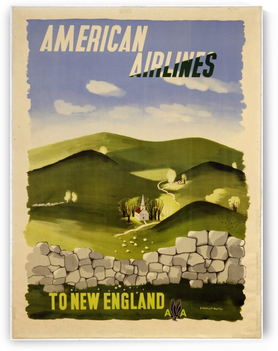 American Airlines To New England vintage travel poster by VINTAGE POSTER