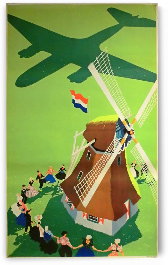 Windmill Holland original travel poster by VINTAGE POSTER