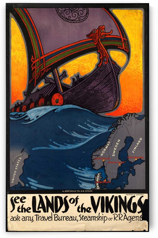 See the lands of the Vikings vintage travel poster by VINTAGE POSTER