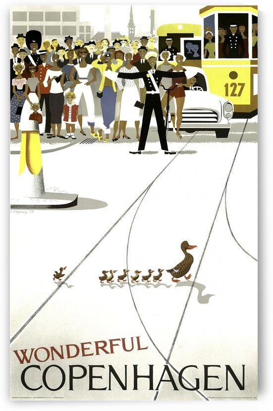 Vintage travel poster Wonderful Copenhagen, Denmark by VINTAGE POSTER