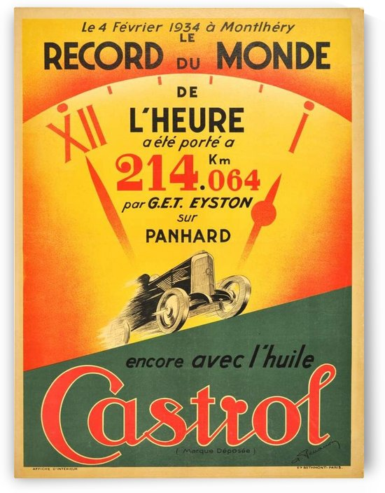 Original Art Deco Castrol world record racing car poster by VINTAGE POSTER