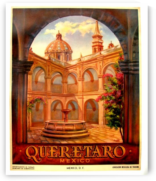 1950 original vintage art deco Queretaro Mexico travel poster by VINTAGE POSTER