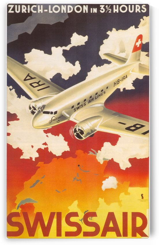 Zurich - London travel poster for Swissair by VINTAGE POSTER